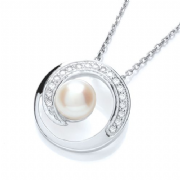 J-Jaz Micro Pave' Cz Pendant with Synthetic Pearl on Chain